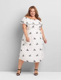 Lane Bryant Convertible Off-The-Shoulder Embroidered Midi Dress