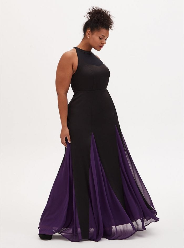 Disney The Little Mermaid Ursula Special Occasion Black & Purple Godet Gown