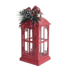 Ashland Christmas Red Metal Lantern with Greenery