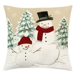 St. Nicholas Square Snowman Buds Throw Pillow