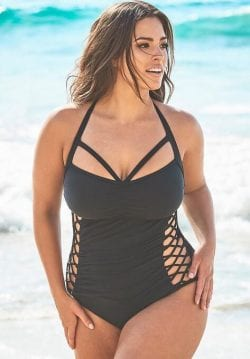 Ashley Graham Boss Underwire One Piece Swimsuit (Black)