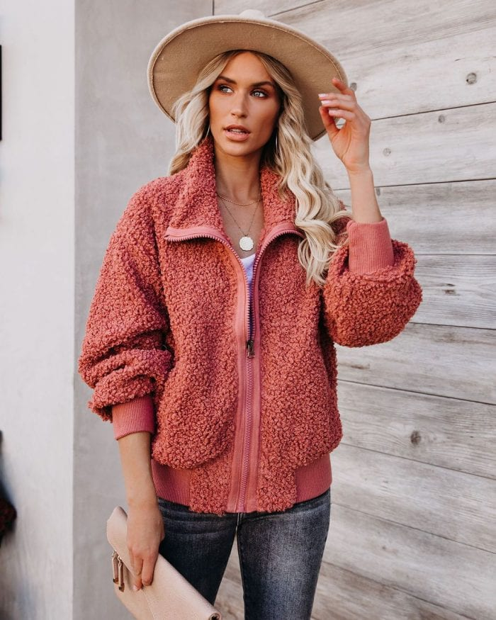 VICI Cool For The Winter Pocketed Terracotta Teddy Jacket