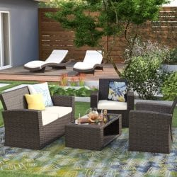 Highland Dunes Alfonso 4 Piece Patio Conversation Set