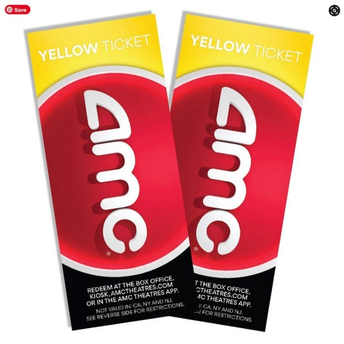 AMC Theatres Yellow Tickets (2-Pack)