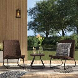 Mercury Row Stickel 3pc Rattan Seating Group